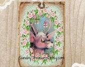 3 Pink Reindeer Tags / Pink Roses / Distressed / Shabby Vintage Christmas Deer / Favor Bag Gift Tags Label Ornament / 3 DayShip (ref-ts)