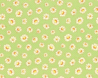 Retro 30's Child Smile Spring 2016 Collection Cotton Fabric Lecien 31281-60 Daisy Flowers on Green