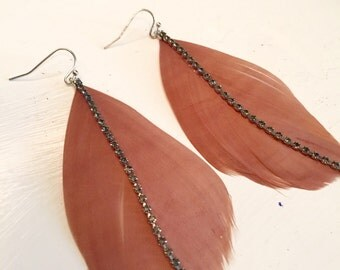 Light Tan Feather Earrings with Black Faux Diamond Strip Charm
