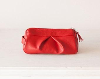 Red leather accessory bag, makeup case cosmetic bag zipper pouch travel zipper case vanity storage - Estia Bag