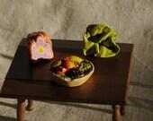 vintage dollhouse plaster food, fruit bowl ham lettuce, made in Engand