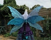 Triple adult blue fantasy fairy wings
