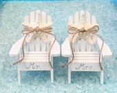 Beach Wedding Cake Topper - 2 Mini Adirondack Chairs with Natural Starfish -  6 Chair Colors - Choose Jute or 24 Ribbon Colors