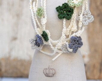 EndOfSummerSale Green white grey flowers necklace, Long crocheted necklace, Fashion accessory, TAGT Team