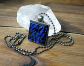 Square Glass Necklace, Dichroic Jewelry, Blue Black Necklace, Dichroic Pendant, Fused Glass Jewelry, Country Rock Neckalce