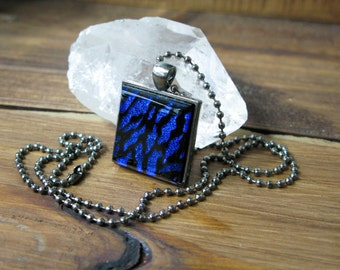 SALE, gift for her, coworker gift, pendant necklace, dichroic glass, fused glass pendant, glass jewelry, square necklace, handmade art