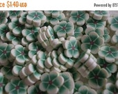 50% OFF SUPER SALE - White and Green Flower - 130 pcs Polymer Clay Slices
