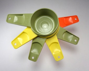 Tupperware Nesting Measuring Cups, Avocado Green, Yellow, Orange, Assorted Colors, Set of Six, Baking Supplies, Kitchen Accessories