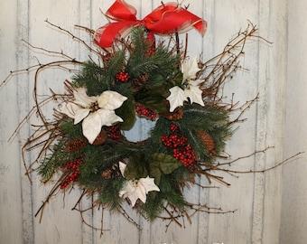 Christmas Wreath, Twig Berry Wreath, Primitive Christmas Decor, Winter  Wreath, Holiday Berry Wreath, White Pointsettias, Christmas Decor
