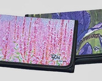 LEATHER CHECKBOOK - FLORAL - Shown in Pink Wildflowers, Purple Iris Images.