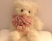 "Russ ""Curlilocks Jr."" Bear..Caress Pets with Original Tag..1990's Mint White Teddy Bear.."