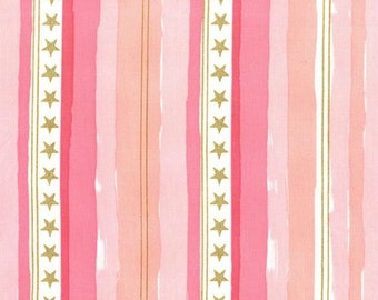 Michael Miller - Magic Collection by Sarah Jane - Stars and Stripes in Pink Metallic