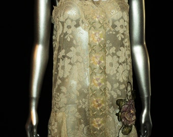 1920's Silk lace tunic dress with Purple antique ribbonwork metallic Embroidered trim at Bodice with original bow applique