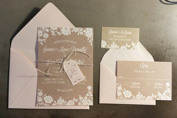 Kraft and Lace Wedding Invitation, Rustic Blush Wedding invitations, Country Floral Wedding Invite, Fall Floral Wedding Invitation Set