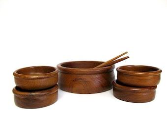 Teak Bowl Set, Vintage Salad Serving Set