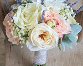 Rustic Chic Ivory and Blush Roses Vintage Style Wedding Bouquet
