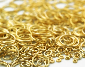 100 Solid Brass Jump Rings - Best Commercially Made in 8 Sizes