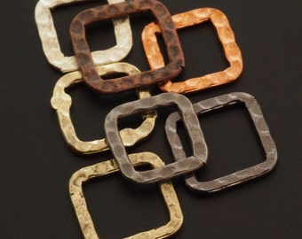 7 Hammered Square Components - 12mm - 6 Finishes - 100% Guarantee