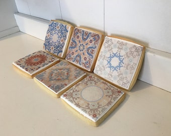 Spanish Edible Ceramic Tile Cookies - 1 dozen