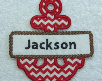 Personalized Anchor Single Name Fabric Embroidered Iron On Applique Patch MADE TO ORDER