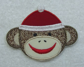 Sock Monkey Boy Fabric Embroidered Iron On Applique Patch Ready to Ship
