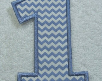 Number 1 Iron on Fabric Embroidered Iron On Applique Patch Ready to Ship