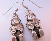 Native American Sterling Silver Drop Earrings Figural Indian Woman with Children Vintage Jewelry Jewellery