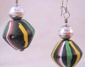 Tribal Glass Bead Drop Dangle Earrings Sterling Silver Pierced Vintage Jewelry Jewellery