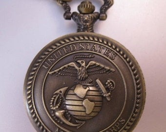 10% OFF SALE Vintage US Marine Corps Military Pocket Watch & Chain Necklace Costume Jewelry Jewellery