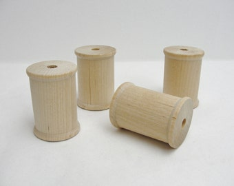 "Wooden spool 2"" tall set of 4, wood spools"