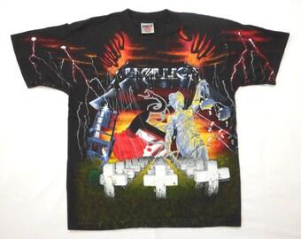 Metallica Vintage 90's Collage Concert T Shirt 1991 Album Cover Art Allover Print Metal L