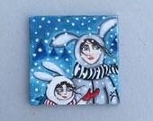 Dollhouse Miniature Painting Collectible Tiny Unframed Art, Acrylic Original Painting on Small Cartoon Christmas Bunny