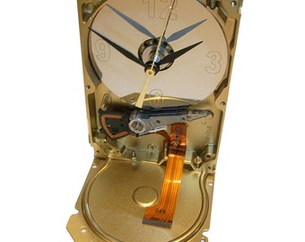 Geek Clock from Recycled Hard Drive with Golden Ribbon Cable Accent.