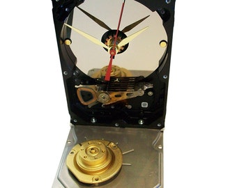 PRICE REDUCED: Hard Drive Clock Accented with Coordinated Golden Motor Spindle Assembly. Retro, Modern.