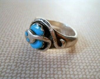Vintage Zuni Artist Effie Calavaza (Effie C) Sterling Silver Turquoise Snake Ring Size 9