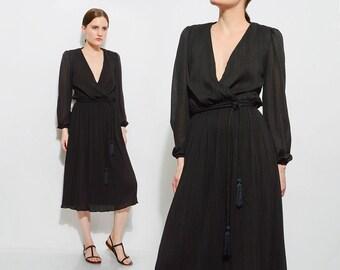 Vintage 70s Black Plunging Neckline Wrap Dress Accordion Pleated Knit Minimal Disco Midi Dress Rope Tassel Belt XS S