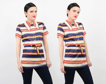 Vintage 60s Nautical Striped Top Tie Waist Mod Collared Shirt Red White Navy Small S