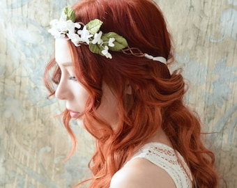 Bridal flower crown, leaf wreath, woodland headpiece, wedding headband, ivory floral crown, bohemian hair crown, wedding hair accessories