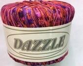 KFI Knitting Fever Dazzle #112 Purple Red Orange Trellis Ladder Ribbon Yarn 25 grams 82 yards