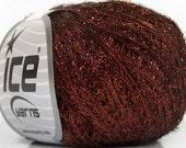 Dark Copper Metallic Foam - Ice 42235 - 30 Gram 109 Yards Fine Metal Tinsel Yarn - Glitzy Carry Along Metallic Copper Short Eyelash Yarn