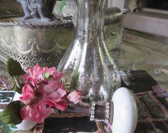 Vintage Porcelain Doorknob, Paperweight, Butterfly, Velvet Flowers, Rhinestones