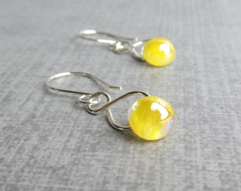 Lemon Yellow Earrings, Yellow Dangles, Silver Infinity Wire Earrings, Lightweight Earrings, Lampwork Glass Earrings Yellow, Sterling Silver