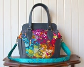 Aster handbag in Alison Glass Art Theory with grey faux leather and optional cross body strap