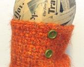 Eyelash head band, neck warmer, collar, scarf, scarflet, orange green, Free shipping in the US