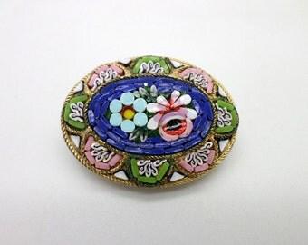 Micromosaic Brooch Pin Pretty Pink Green Blue Vintage Italian Micro Mosaic