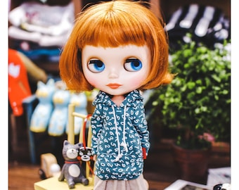 Blythe Number Hooded-T - Turquoise