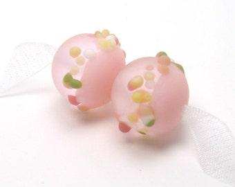 Lampwork glass beads, pink lampwork beads, etched lampwork beads, cottage garden frit, rose quartz beads, earring pair, lampwork glass beads