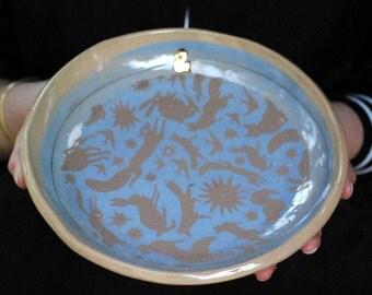 Blue pottery dish, blue ceramic bowl, ceramic salad bowl,
