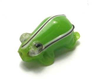 Green Lampwork Glass Frog with Stripes
