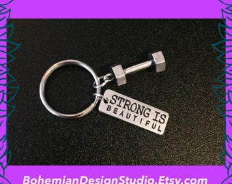 fitness keyring, fitness gift, strong is beautiful charm, dumbbell charm, gift for her, gym instructor, personal trainer, UK
